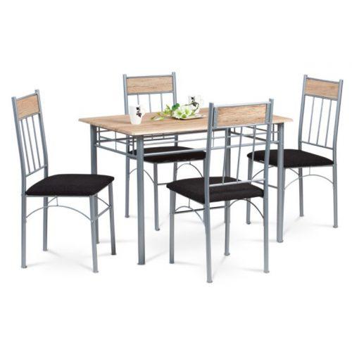 Jerry Modern Étkezőszett Tölgy Színben 1 Asztal+4 Szék