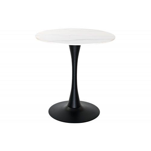 Róma  Étkezőasztal Fehér Vagy Fekete Színű Kőlap, Fekete Lábbal 70X73Cm / 80X73Cm