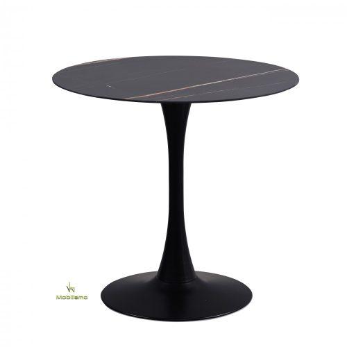 Róma Modern Kerek Étkezőasztal Fekete És Fehér Színű Kőlap, Fekete Fém Lábbal 70X73Cm / 80X73Cm