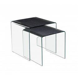 Solaris Dohányzóasztal - Hajlított, edzett üveg, cement festett felületel. Méret: 45x33x50 cm